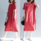 大尺碼洋裝 休閒t恤長裙女夏2020新款寬鬆大碼純棉短袖T恤裙顯瘦過膝連身裙子