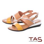 TAS 金屬感造型繫帶低跟涼鞋-氣質卡其