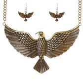 項鍊鍍金+耳環-歐美霸氣老鷹展翅女毛衣鍊2色73nt42【時尚巴黎】