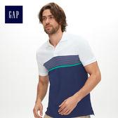 Gap男裝 彈力條紋短袖Polo衫 440726-鈷藍色