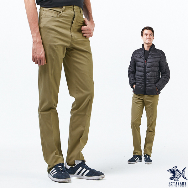 【NST Jeans】靜謐的男子 卡其細直紋 休閒男褲(中腰) 390(5649) outlet款