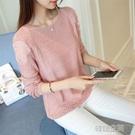 2019春季韓版寬鬆顯瘦女裝蕾絲針織衫圓領中袖打底衫百搭套頭毛衣 韓語空間