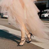 包頭涼鞋女超細高跟鞋一字綁帶鞋