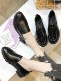 小皮鞋配西裝小皮鞋女秋款新款秋鞋百搭英倫一腳蹬軟皮粗跟黑色單鞋 芊惠衣屋