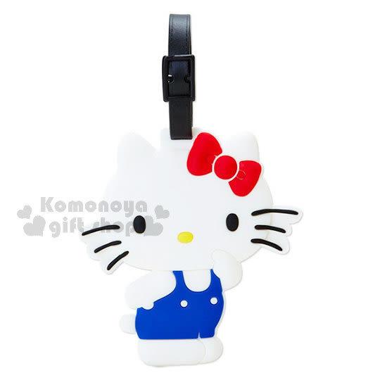 〔小禮堂〕Hello Kitty 造型軟膠行李吊牌《白.側站.粉點點底》 4548387-15049