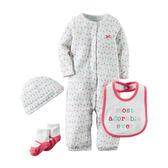 Carter's平行輸入童裝 女寶寶 帽子&襪子&兔裝&圍兜 紅圍兜【CA126G353】