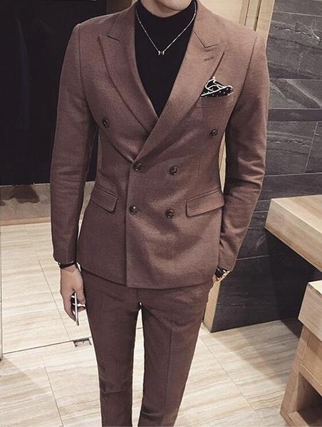 找到自己品牌 韓國男 休閒 雙排扣 小西裝 修身西裝 西裝外套 單件外套