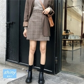 【V8238】shiny藍格子-輕意微甜.復古高腰毛呢格子A字短裙