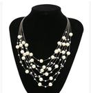 【找到自己】項鏈配飾女短款韓版時尚多層珍珠鎖骨鏈歐美誇張大珍珠 宴會 新娘秘書 配件 上衣