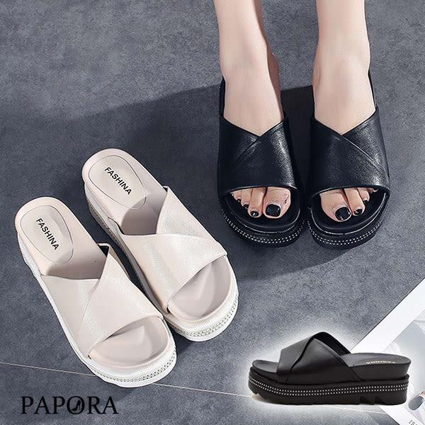 PAPORA仿皮面厚底涼拖鞋KB55黑/米(偏小)