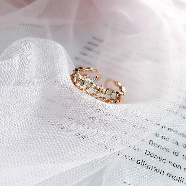 戒指 鏤空 鑲鑽 寶石 花朵 指環 清新 溫柔 開口 戒指【DD1906103】 BOBI  07/25