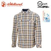 【Wildland 荒野 男 彈性格紋內刷毛保暖襯衫《杏黃》】0A722021/格紋衫/運動衣/休閒衫/薄外套