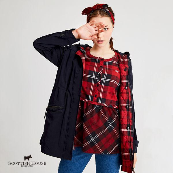 【紅黑格】襯衫格布接網紗半開襟上衣 Scottish House【AH1302】