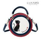 側背包 摩登撞色貓咪刺繡小圓包 3色 -La Poupee樂芙比質感包飾 (現貨+預購)