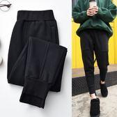 (交換禮物 創意)聖誕-黑色加絨運動褲女 小腳哈倫褲 寬鬆 顯瘦 加厚 休閒褲衛褲