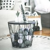 茶幾簡約小戶型客廳角幾鐵藝雜物收納筐簍桶金屬框木蓋臟衣籃北歐
