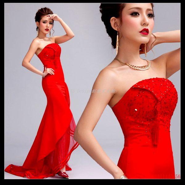(45 Design) 訂做款式7天到貨 紅色蕾絲前短後長新娘晚禮服魚尾婚紗結婚敬酒服長款