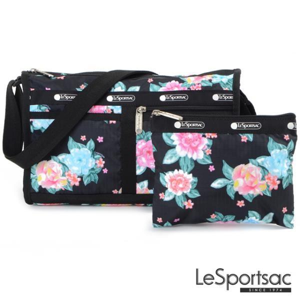 【南紡購物中心】LeSportsac - Standard雙口袋斜背包-附化妝包 (夢幻花園) 7519P F936