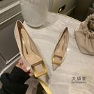 細跟高跟鞋 法式小眾高跟鞋女細跟2021年新款方扣設計感氣質中跟尖頭淺口單鞋 交換禮物