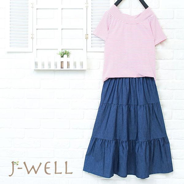 J-WELL 船型領條紋上衣蛋糕牛仔裙二件組(組合863 8W2364粉M/L+8J1522深藍F)