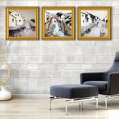 水墨畫風景裝飾畫禪意掛畫客廳餐廳江南水鄉背景牆壁三聯畫·享家生活館IGO
