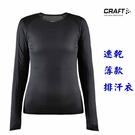 CRAFT 美國品牌 長袖超薄圓領速乾排汗衣(1908855 999000 碳黑) 女 下殺款