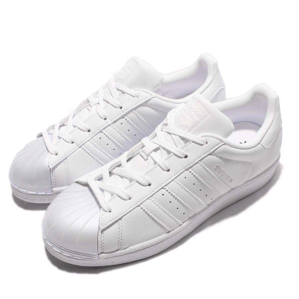 adidas 休閒鞋 Superstar Glossy Toe W 白 全白 貝殼頭 珍珠頭 特殊材質 女鞋【PUMP306】BB0683