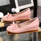 豆豆鞋 內增高豆豆鞋中跟夏季韓版百搭平底鞋春秋孕婦坡跟單鞋女 綠光森林