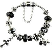 手鍊 串珠-水晶琉璃十字架黑色生日情人節禮物女配件2款73ay160【時尚巴黎】