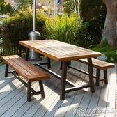 戶外實木餐桌露台庭院咖啡店奶茶店室外桌椅室外防水防曬防腐桌子CY『新佰數位屋』