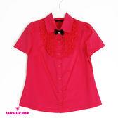 【SHOWCASE】荷葉蕾絲領修身短袖襯衫(紅)