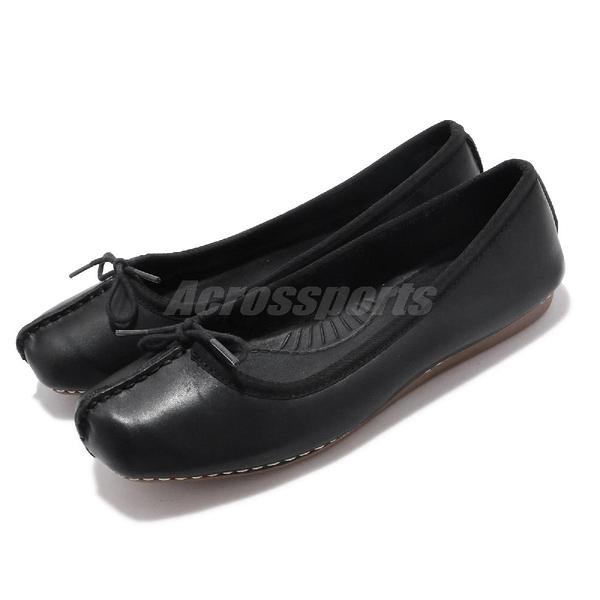 Clarks 平底鞋 Un Freckle Ice 黑 娃娃鞋 真皮鞋面 女鞋 【PUMP306】 CLF52929SC19