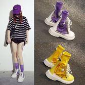 透明靴子女夏新款矮靴女鞋子潮秋季短靴個性學生襪子馬丁靴女
