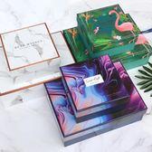 禮盒禮物盒生日包裝禮物盒禮品盒正長方形火烈鳥大理石禮物手提袋盒-凡屋