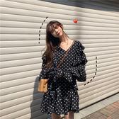 VK精品服飾 韓國風俏皮鬼馬系少女波點長袖洋裝