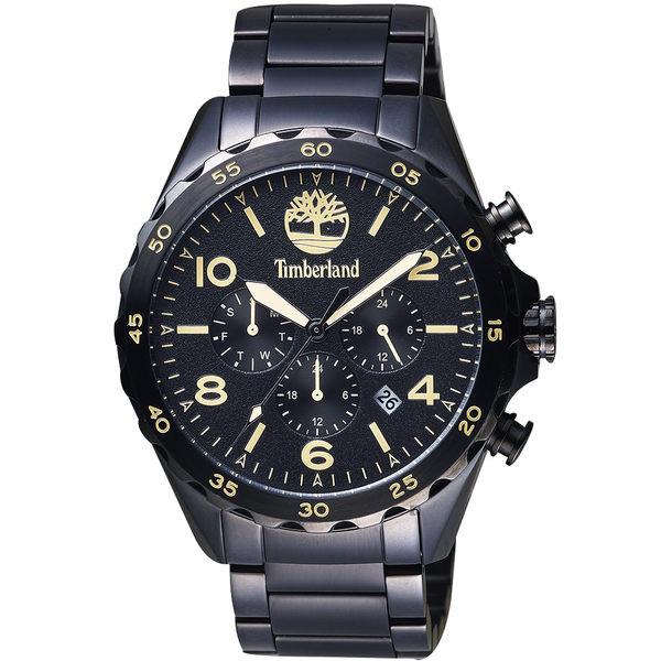 Timberland天柏嵐 Brenton 二地時區手錶-鍍黑/46mm TBL.15126JSB/02M
