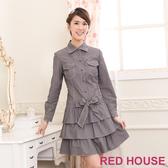 【RED HOUSE 蕾赫斯】蝴蝶結假牛仔蛋糕洋裝(灰色)
