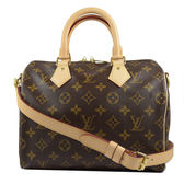 Louis Vuitton LV M41113 M40390 人氣款Speedy 25 經典花紋附背帶手提包-附銷組 全新 現貨