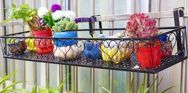歐式鐵藝陽台欄杆花架  室外窗台壁掛式護欄懸掛式花盆架 【潮咖範兒】