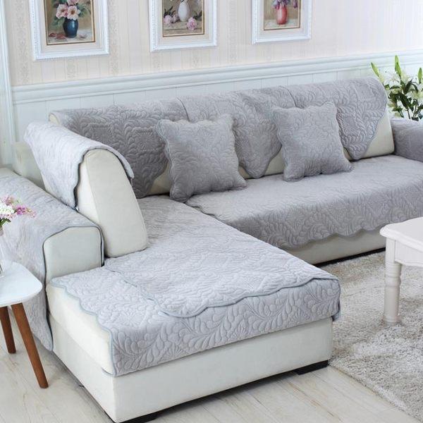 沙發墊冬季防滑加厚毛絨坐墊簡約現代布藝三人座皮沙發墊子套巾罩