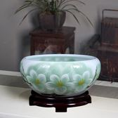陶瓷魚缸桌面小型睡蓮盆荷花缸碗蓮缸家用客廳養烏龜缸TZGZ 免運快速出貨