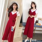 夏季新款韓版收腰顯瘦高腰吊帶連體褲寬鬆九分背帶褲兩件套女 卡布奇诺