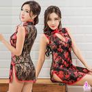紅黑立領性感中國風旗袍二件組 性感情趣睡衣蕾絲款 《SV8834》快樂生活網