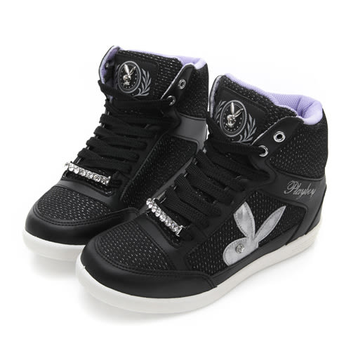 PLAYBOY 魅力首選 韓系內增高休閒鞋-黑