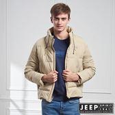 【JEEP】型男立領羽絨短版外套 (淺卡其)