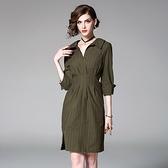 洋裝-七分袖POLO領條紋修身收腰女連身裙73of63【巴黎精品】