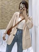 西裝外套 外套女新款春秋季韓版chic小個子少女西服杏色復古小西裝上衣  魔法鞋櫃