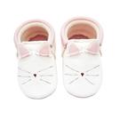 學步鞋 Little Lambo 真皮手工蝴蝶結學步鞋 嬰兒鞋 皮鞋 - 粉白貓咪 Kitty