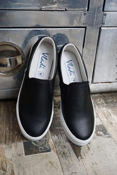 懶人鞋.真皮休閒鞋,情侶鞋,台灣製造 (黑)Vladi