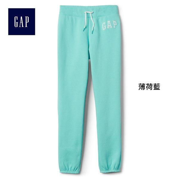 Gap女童 logo刷毛中腰兒童運動褲 柔軟彈力長褲褲子 900897-薄荷藍
